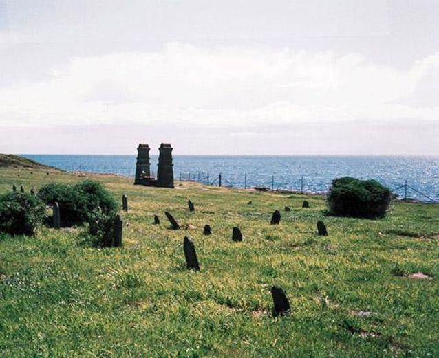 Chinese cemetery graves resting place near sea