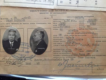 An early 20th century immigration file from Mexico for Chong Salvador shows a profile picture of a Chinese immigrant in sailor's garb and lists his personal particulars