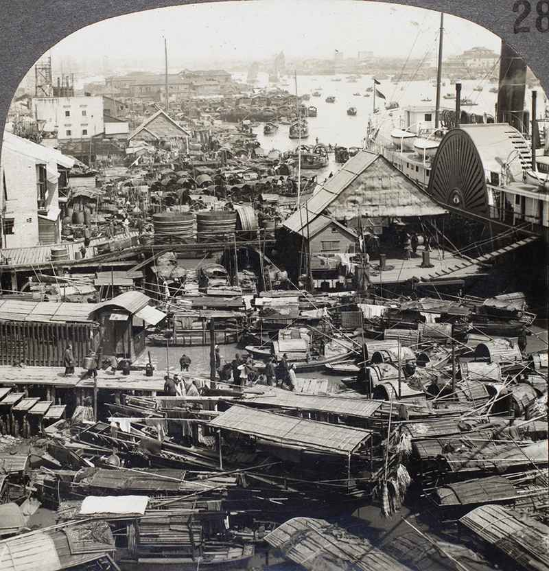 Vintage picture of Canton and the Pear River