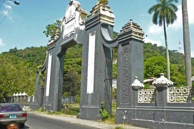 High stone entrance of Chinese cemetery in Central America