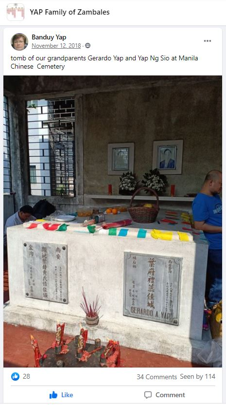 Facebook group post of a Chinese tombstone