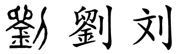 Alt Text: Chinese character for the surname Liu written in seal script, traditional Chinese, and simplified form