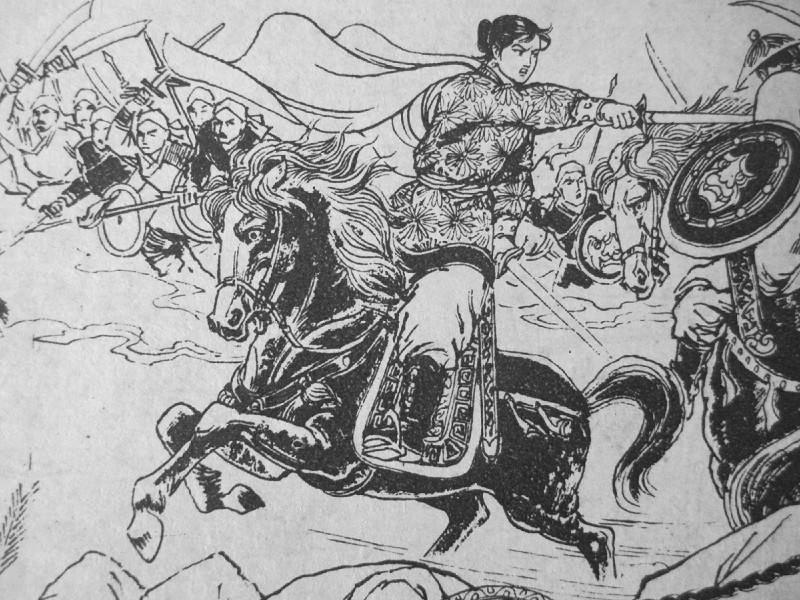 Black and white sketch of Wang Cong'er fighting on horseback